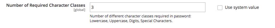 """Campo em """"Password Options"""" para alterar a quantidade de caracteres"""